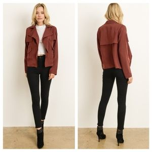 Light Burgundy Cropped Trench Coat